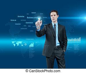 holographic, series., geschaeftswelt, collection., junger, virtuelle wirklichkeit, zukunft, lösungen, wählen, interface., geschäftsmann, eins