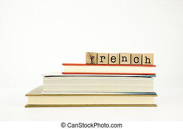 holz, wort, sprache, franzoesisch, briefmarken, buecher