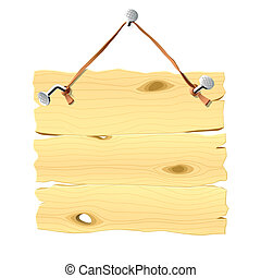 Holzanzeiger hängt an einem Nagel
