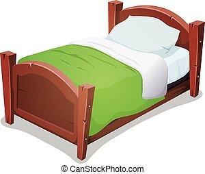 Holzbett mit grüne Decke.