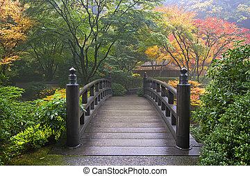 holzbrücke, japanischer garten, herbst