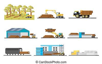 Holzproduktionselementesammlung.