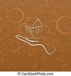 Home on the hand Umriss Vektor Icon.