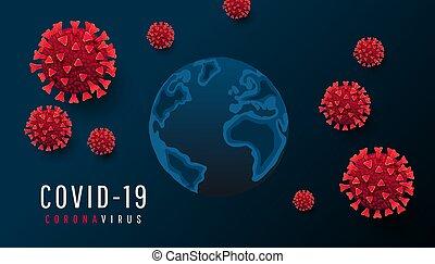 horizontal, dunkel, 3d, coronavirus, text, zelle, concept., landkarte, covid, oder, vektor, welt, global, mikroben, hintergrund, bakterie, 19
