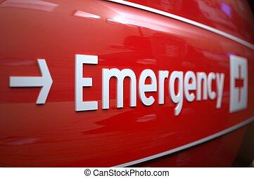 hospital., zeichen, notfall