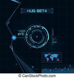hud, gui, benutzer, interface., set., zukunftsidee