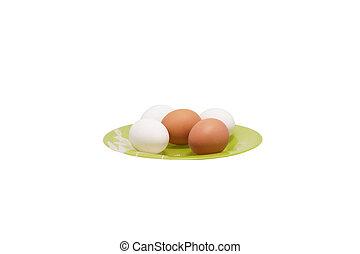 huhn, schale, platte., grün, eier