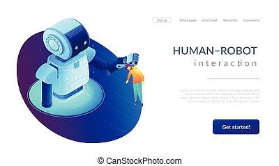Human-Roboter Interaktion isometrische 3D Landeseite.