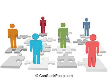 Humanressourcen stehen Menschen auf Puzzleteile