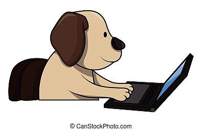 Hund mit Computer.