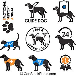 hunden, embleme, service, emotional, tiere, unterstuetzung