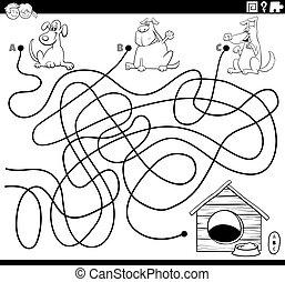 hunden, färbung, labyrinth, haus, hund, seite, buch