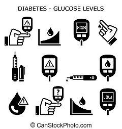 hyperglycemia, design, zuckerkrank, niedrig, vektor, niveaus, hoch, traubenzucker, satz, zucker, -, zuckerkrankheit, heiligenbilder, hypoglycemia, healthcare