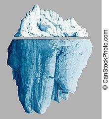 Iceberg isoliert mit Ausschnittspfaden enthielt 3D-Bilder.