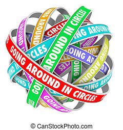 Ich drehe im Kreis Wörter auf Kreisbändern.
