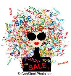 Ich liebe Verkauf! Modefrau mit Einkaufskonzept für dein Design