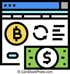 ico, farbe, vektor, crowdfunding, ikone, abbildung