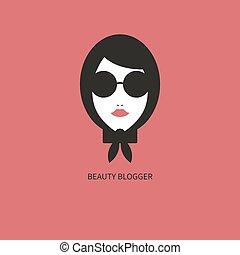 icon., blogger, mode, junges mädchen, sonnenbrille