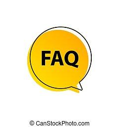 icon., faq, vortrag halten , informationen, wohnung, vektor, hilfe, symbol, frage, design, frequently, frage