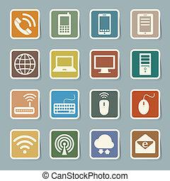 Icon Set von Mobilfunkgeräten, Computern und Netzwerkverbindungen.