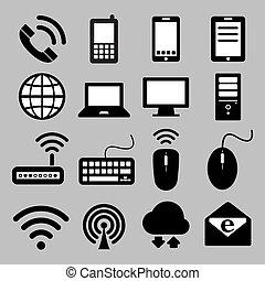 Icon Set von Mobilfunkgeräten, Computern und Netzwerkverbindungen , Illustration Eps 10