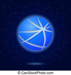 Icon von abstrakten blauen Globus
