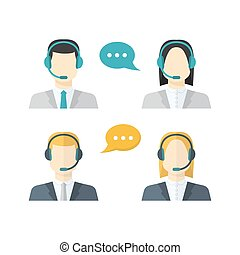 Icons set Male and weiblich call center avatars in a flat style with a headset,color speech bubbles conceptual of communication, client services, telemarketing,business.
