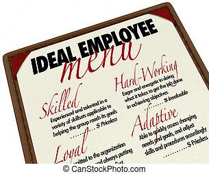 Ideale Mitarbeiter-Menü für die Wahl eines Kandidaten