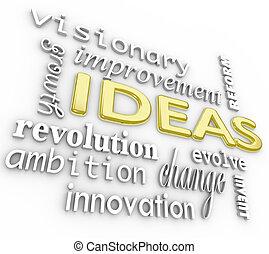 Ideen im Hintergrund - Innovationsvision 3D-Wort