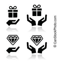 ikone, diamant, geschenk, hände