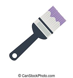 ikone, freigestellt, farbpinsel, werkzeug, baugewerbe