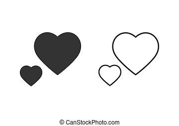 ikone, herz, lieben linie, vektor, satz, abbildung