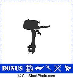 ikone, motorboot, wohnung, aussenbord