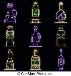ikone, satz, vektor, neon, essig