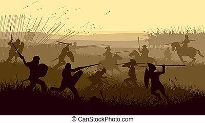 Illustration der mittelalterlichen Schlacht.