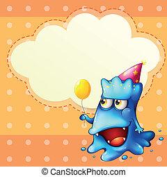 Illustration eines Monsters, das einen Ballon hält, der vor der leeren Wolke steht
