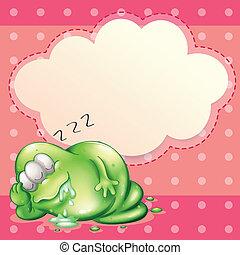 Illustration eines Monsters schlafen und salivieren mit einer leeren Wolkenvorlage hinten.