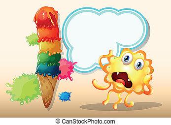 Illustration eines riesigen Eiscremes neben dem Monster vor dem leeren Wolkenmuster