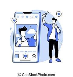 illustration., vektor, begriff, selfie, abstrakt