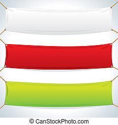 Illustration von Textil-Bannern. Vektorschema