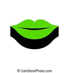 illustration., zeichen, lippen, schwarz, vector., grün, 3d, seite, ikone
