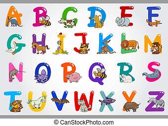 illustrationen, alphabet, tiere, karikatur
