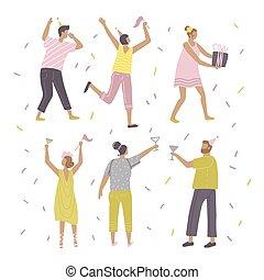 illustrationen, wohnung, tanzen, haben, geburstag, feiern, charaktere, gezeichnet, glücklich, partei., spaß, hand, bunte, characters., vektor, satz, leute