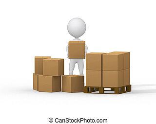 image., leute, boxes., tragen, klein, pappe, 3d