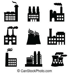Industriegebäude, Fabriken und Kraftwerke