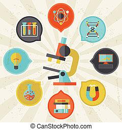info, wohnung, begriff, wissenschaft, graphischer entwurf, style.