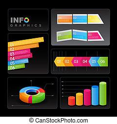 Infografische Elemente auf schwarzem Hintergrund.