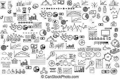 Infographics Sammlung Hand gezeichnet Doodle Sketch Business ecomomic Finance Elemente.