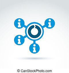 Information Sammeln und Austausch Themen Icon, Vektor conceptua.