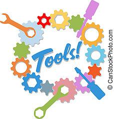 informationen, design, technologie, werkzeuge